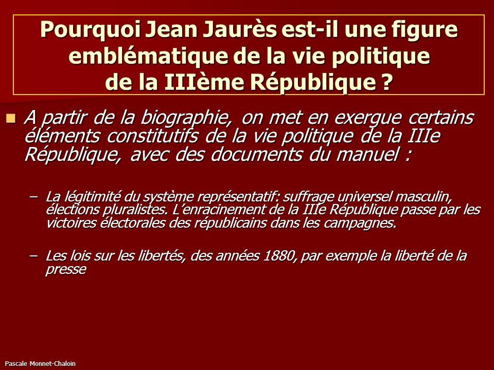 Pascale Monnet-Chaloin Pourquoi Jean Jaurès est-il une figure emblématique de la vie politique de la IIIème République ? A partir de la biographie, on