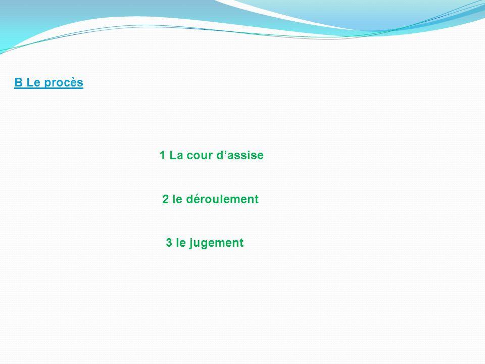 B Le procès 1 La cour dassise 2 le déroulement 3 le jugement