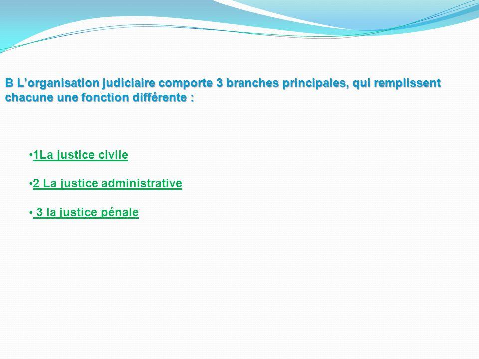 B Lorganisation judiciaire comporte 3 branches principales, qui remplissent chacune une fonction différente : 1La justice civile 2 La justice administ