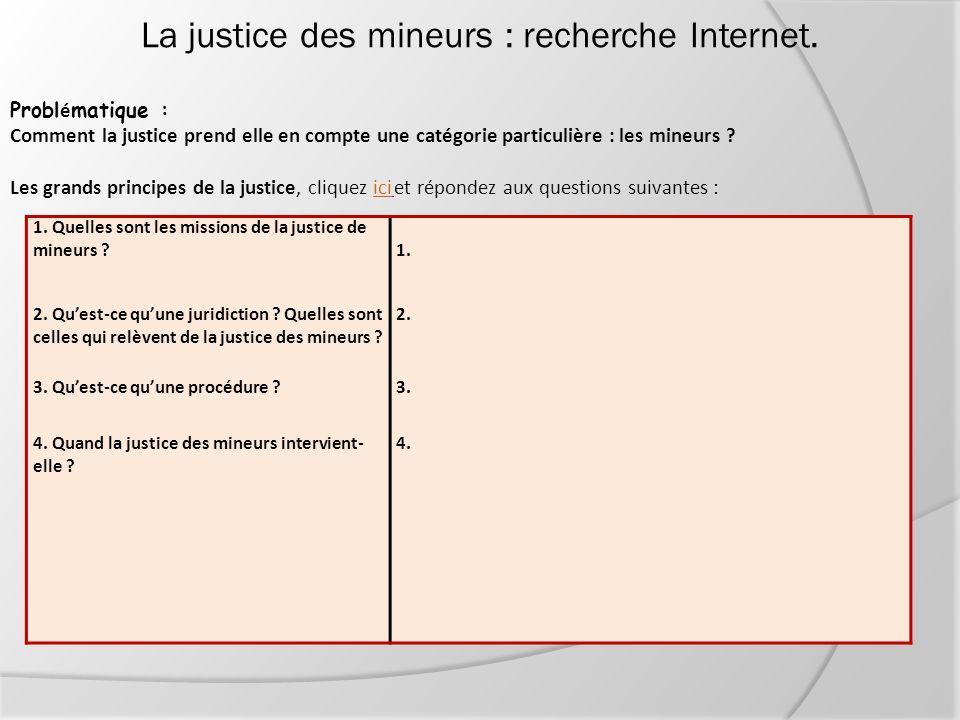 La justice des mineurs : recherche Internet. Probl é matique : Comment la justice prend elle en compte une catégorie particulière : les mineurs ? Les