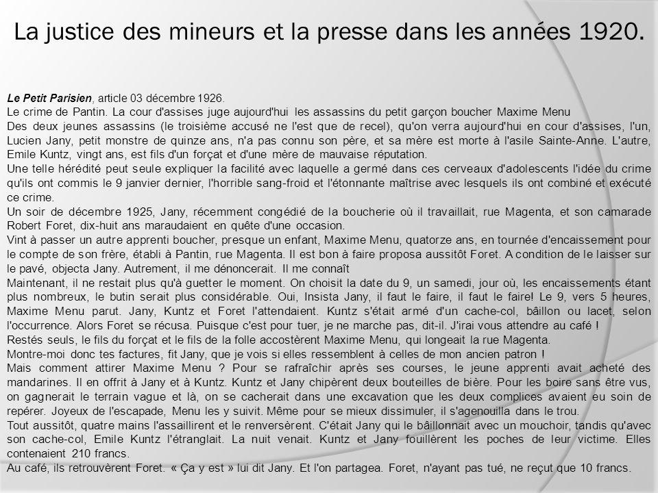 Le Petit Parisien, article 03 décembre 1926. Le crime de Pantin. La cour d'assises juge aujourd'hui les assassins du petit garçon boucher Maxime Menu