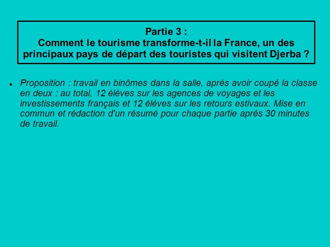 Partie 3 : Comment le tourisme transforme-t-il la France, un des principaux pays de départ des touristes qui visitent Djerba ? Proposition : travail e