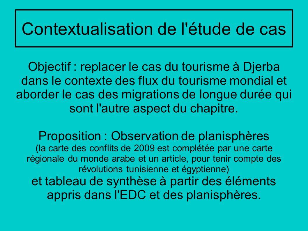 Contextualisation de l'étude de cas Objectif : replacer le cas du tourisme à Djerba dans le contexte des flux du tourisme mondial et aborder le cas de