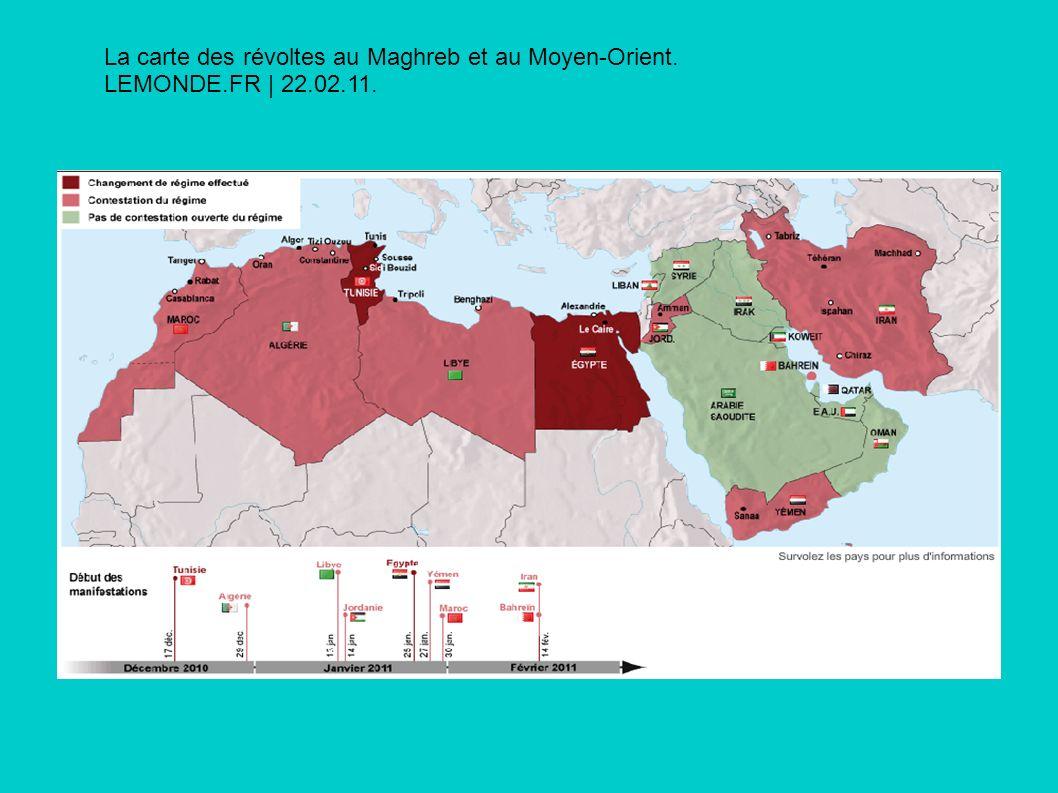La carte des révoltes au Maghreb et au Moyen-Orient. LEMONDE.FR | 22.02.11.