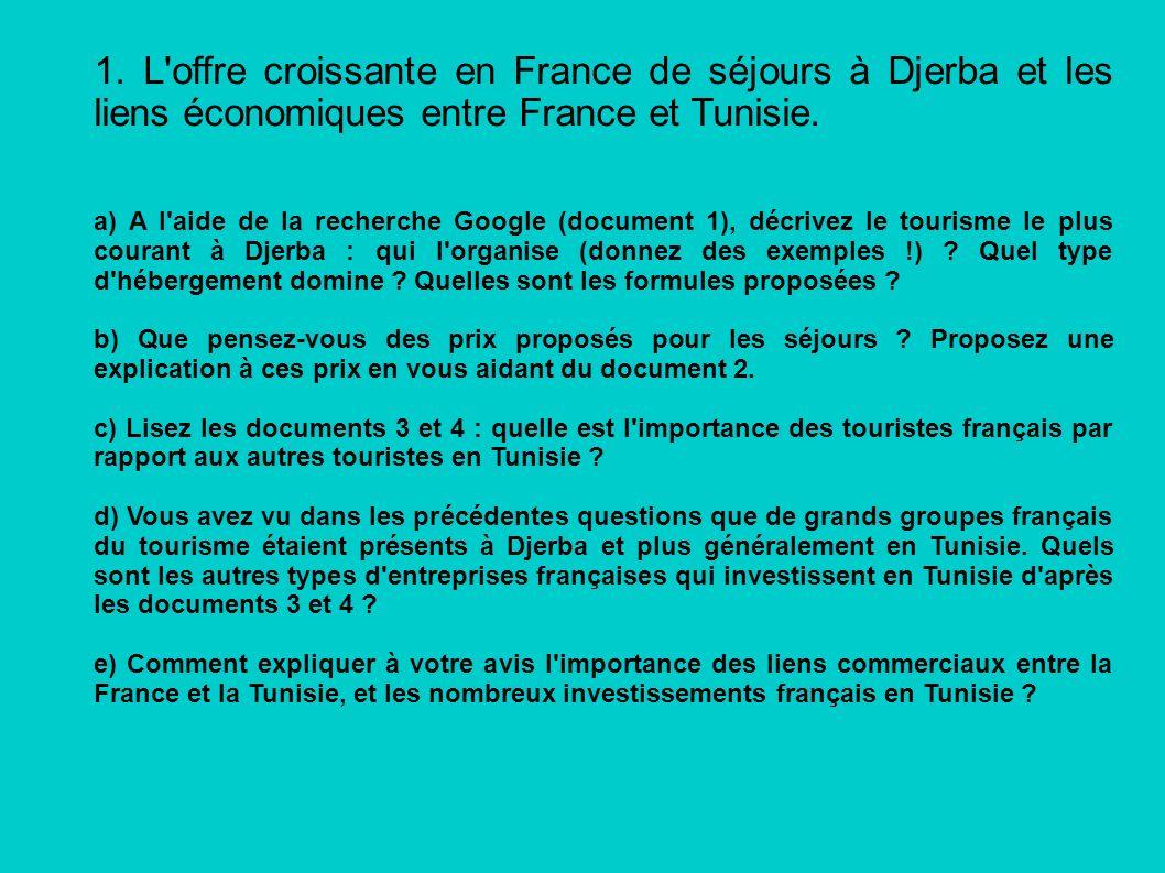 1. L'offre croissante en France de séjours à Djerba et les liens économiques entre France et Tunisie. a) A l'aide de la recherche Google (document 1),