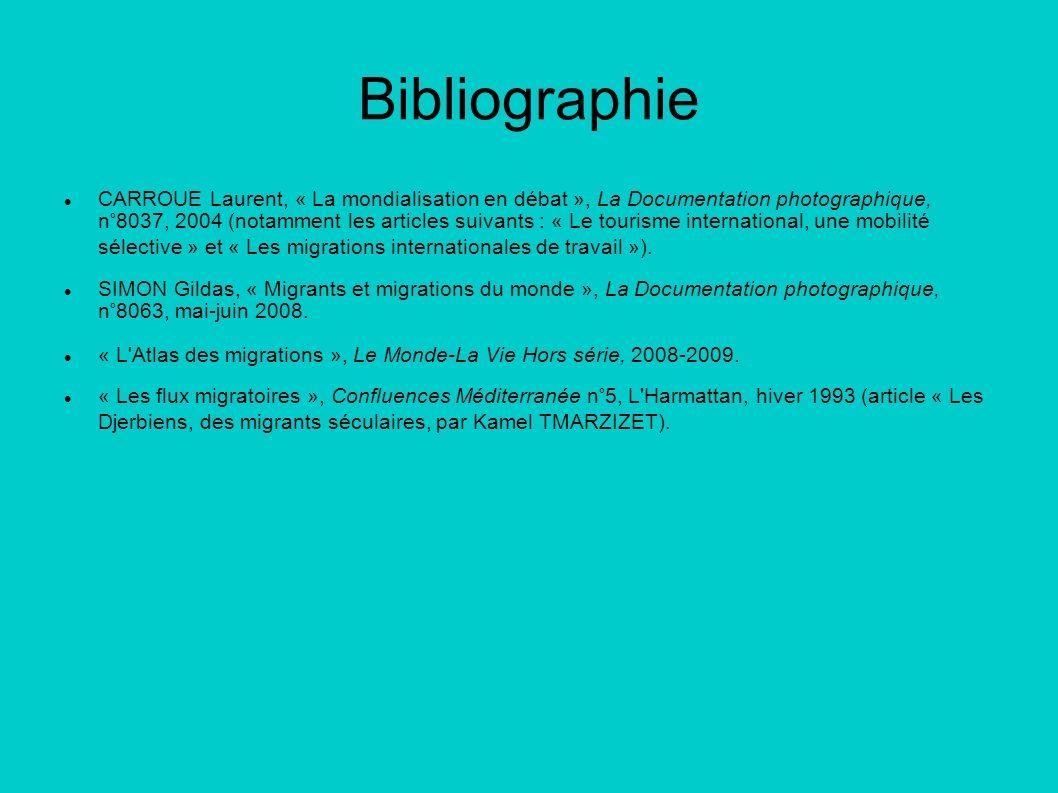 Bibliographie CARROUE Laurent, « La mondialisation en débat », La Documentation photographique, n°8037, 2004 (notamment les articles suivants : « Le t