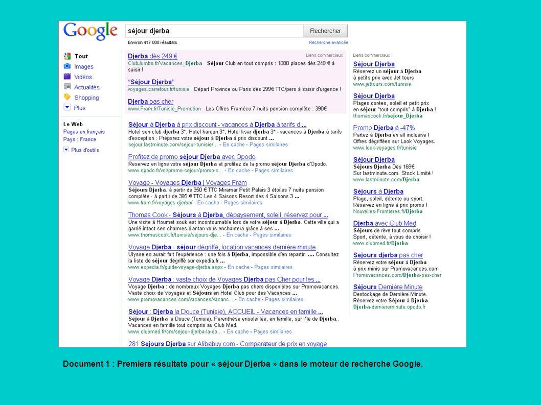 Document 1 : Premiers résultats pour « séjour Djerba » dans le moteur de recherche Google.