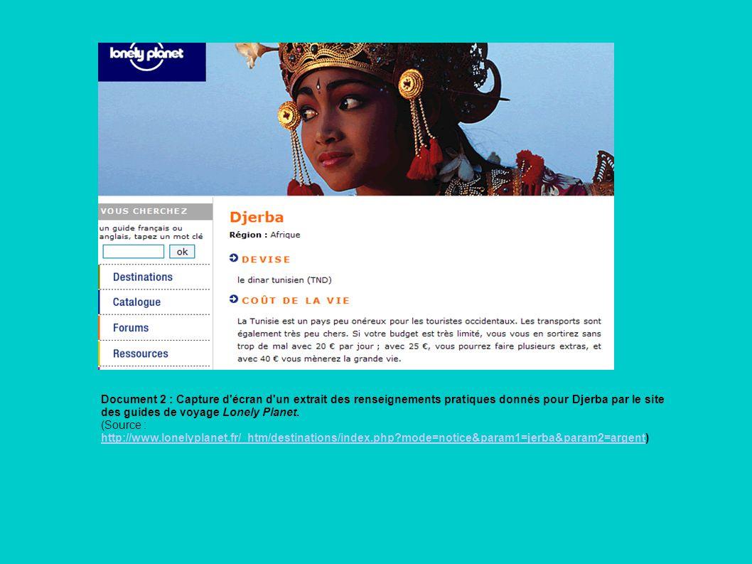 Document 2 : Capture d'écran d'un extrait des renseignements pratiques donnés pour Djerba par le site des guides de voyage Lonely Planet. (Source : ht