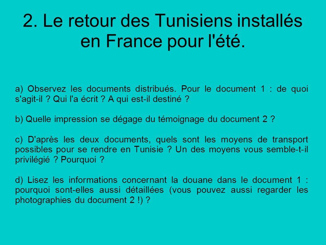 2. Le retour des Tunisiens installés en France pour l'été. a) Observez les documents distribués. Pour le document 1 : de quoi s'agit-il ? Qui l'a écri