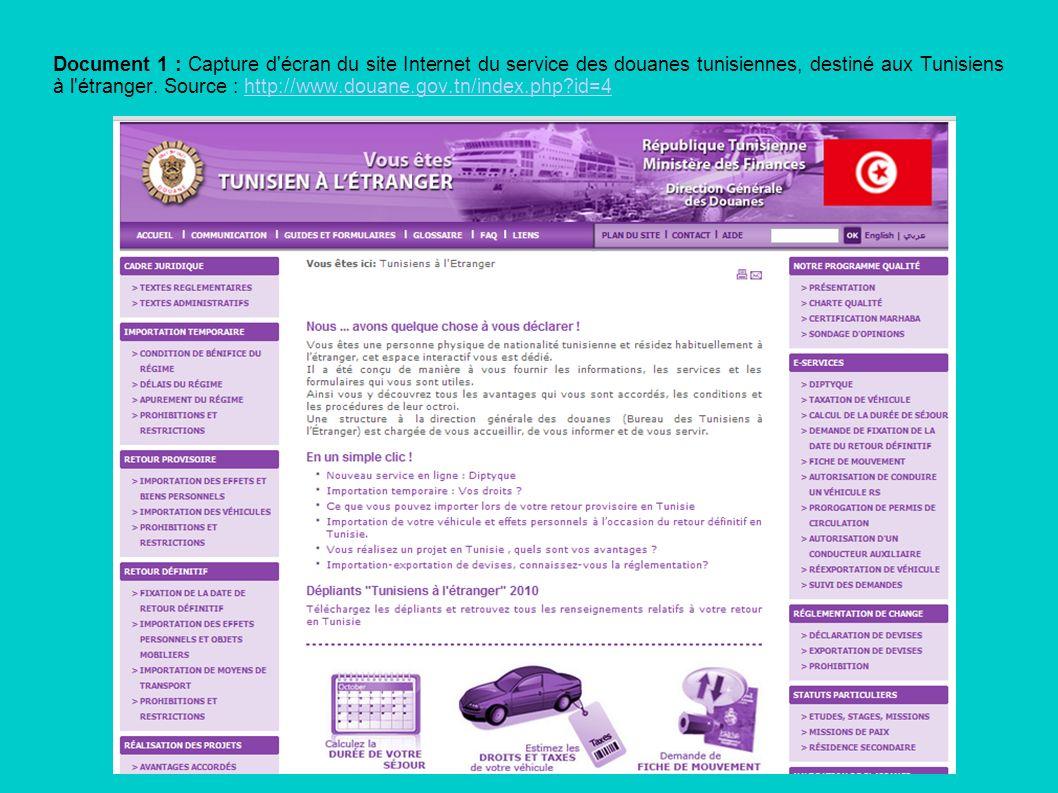 Document 1 : Capture d'écran du site Internet du service des douanes tunisiennes, destiné aux Tunisiens à l'étranger. Source : http://www.douane.gov.t