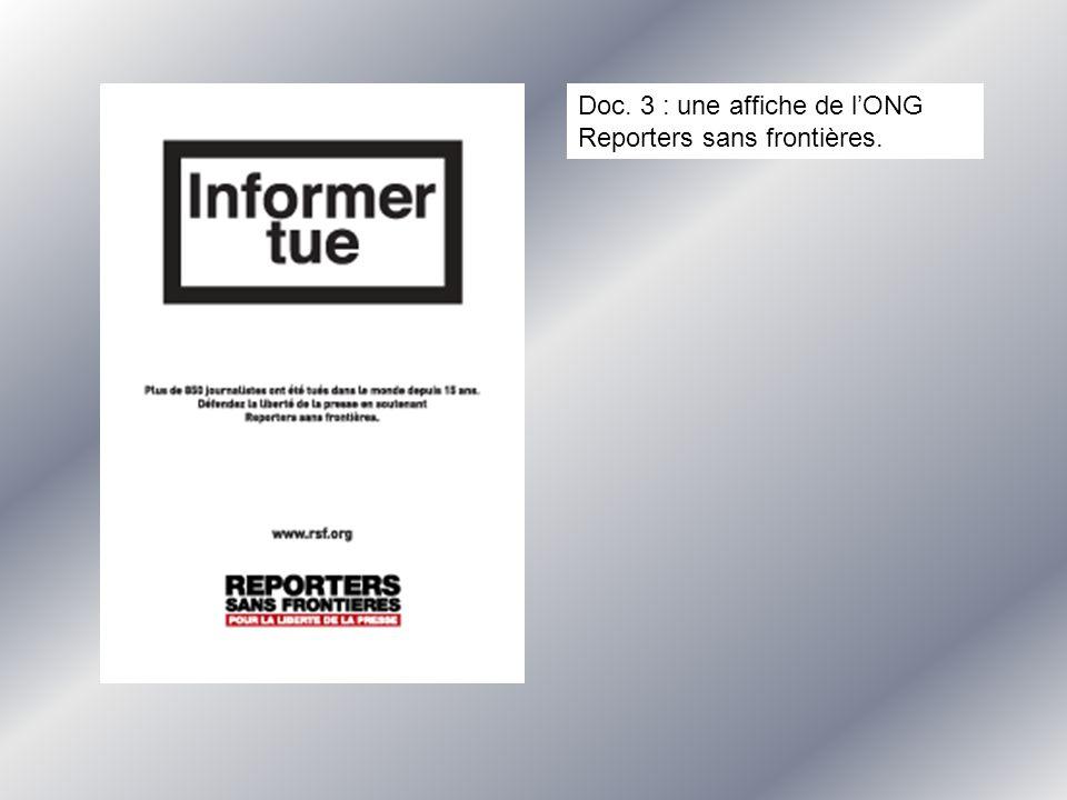 Doc. 3 : une affiche de lONG Reporters sans frontières.