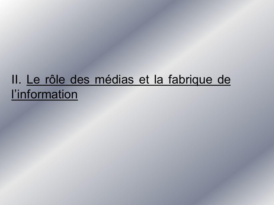 II. Le rôle des médias et la fabrique de linformation
