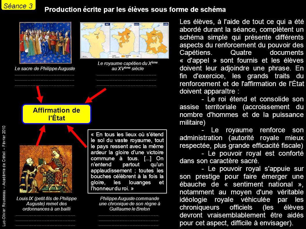 Luc-Olivier Rousseau – Académie de Créteil – Février 2010 Production écrite par les élèves sous forme de schéma Les élèves, à l aide de tout ce qui a été abordé durant la séance, complètent un schéma simple qui présente différents aspects du renforcement du pouvoir des Capétiens.