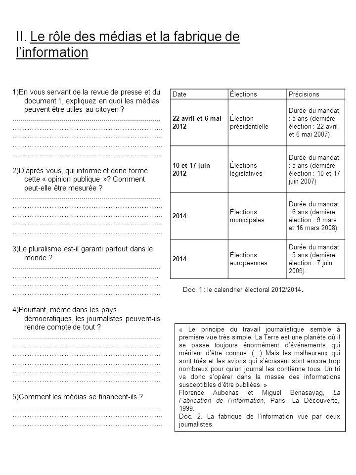 II. Le rôle des médias et la fabrique de linformation DateÉlectionsPrécisions 22 avril et 6 mai 2012 Élection présidentielle Durée du mandat : 5 ans (