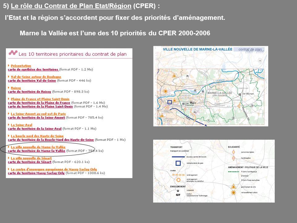 5) Le rôle du Contrat de Plan Etat/Région (CPER) : lEtat et la région saccordent pour fixer des priorités daménagement. Marne la Vallée est lune des 1