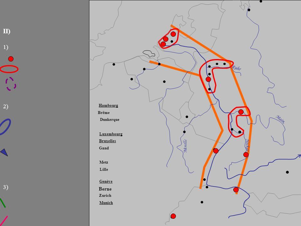 Ruhr Main, Neckar III) Moselle 2) 3) 1) Rajouter du texte pour compléter la légende ; pour appliquer les figurés de la légende sur la carte, utiliser le copier-coller et adapter la forme des objets.