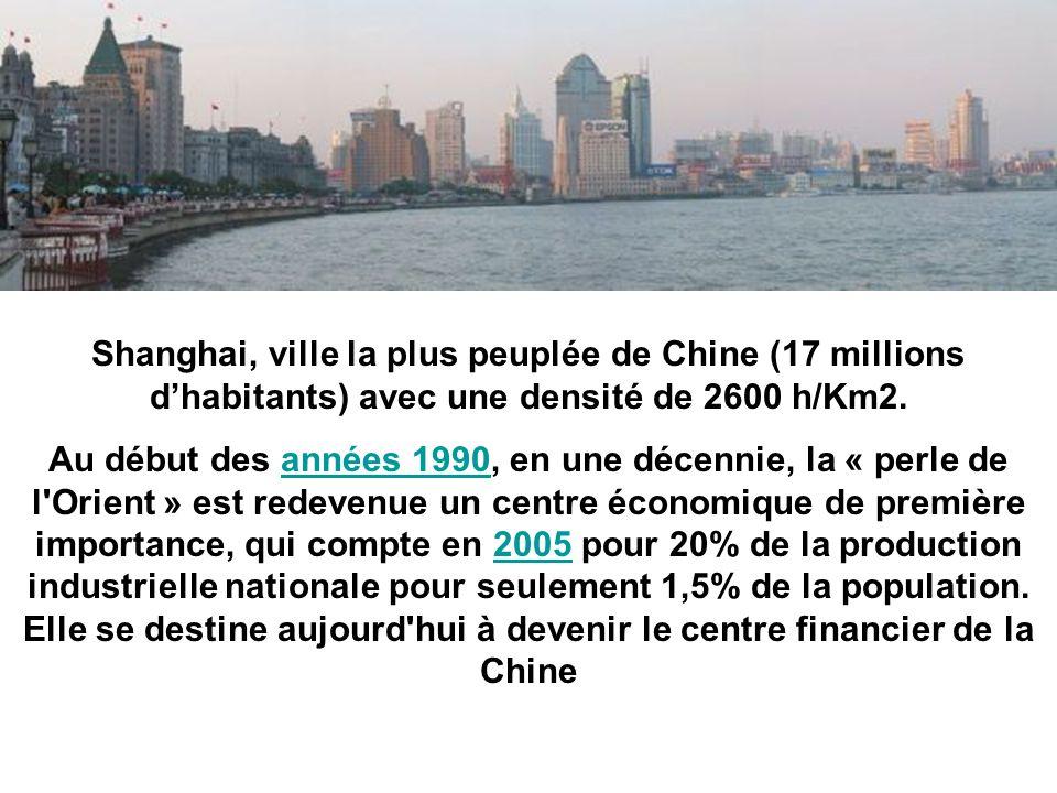 Shanghai, ville la plus peuplée de Chine (17 millions dhabitants) avec une densité de 2600 h/Km2. Au début des années 1990, en une décennie, la « perl