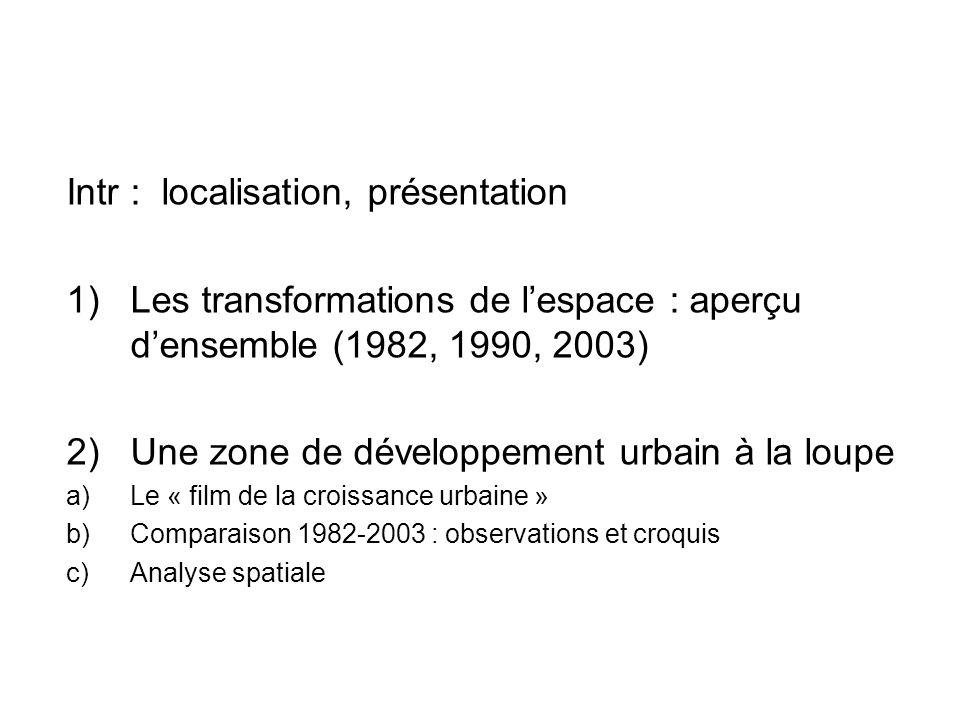 Intr : localisation, présentation 1) Les transformations de lespace : aperçu densemble (1982, 1990, 2003) 2) Une zone de développement urbain à la lou