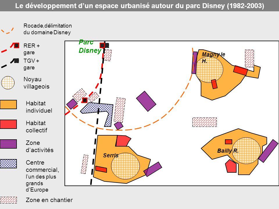 Rocade,délimitation du domaine Disney RER + gare TGV + gare Noyau villageois Habitat individuel Habitat collectif Zone dactivités Centre commercial, l