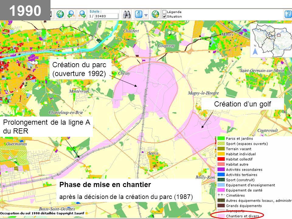 Phase de mise en chantier après la décision de la création du parc (1987) Prolongement de la ligne A du RER Création du parc (ouverture 1992) Création