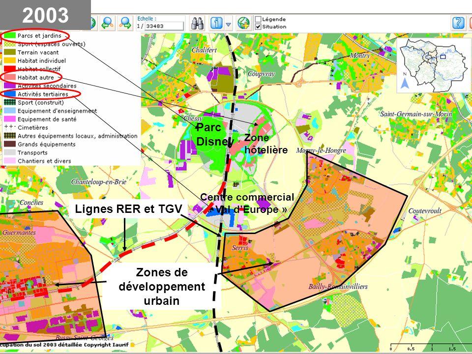 Rocade,délimitation du domaine Disney RER TGV Noyau villageois Habitat individuel Habitat collectif Zone dactivités Centre commercial, lun des plus grands dEurope Zone en chantier 2003 Serris Bailly R.