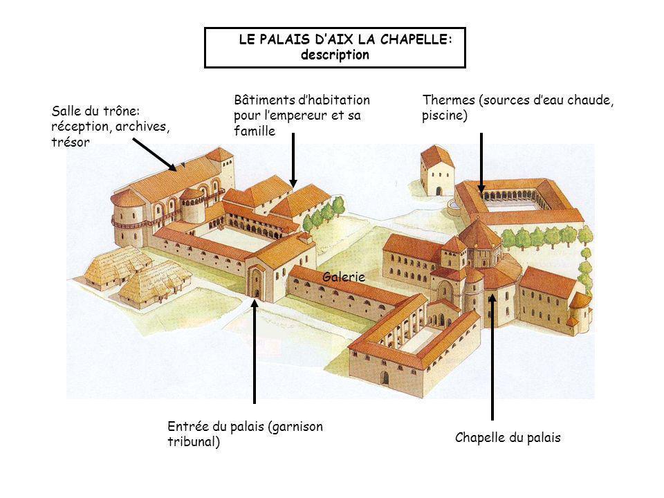 1 2 3: lentrée rappelle un arc de triomphe LE PALAIS DAIX LA CHAPELLE: explication 4 5 6 1: la salle du trône rappelle les basiliques romaines 2: les bâtiments autour de la galerie rappellent un camp romain 4: les thermes rappellent ceux de l empire romain 3 5: plan en croix 6: coupole et mosaïques.