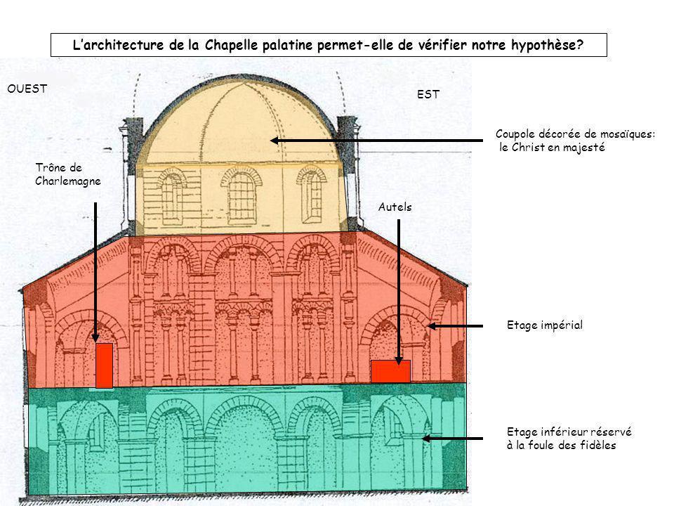 Larchitecture de la Chapelle palatine permet-elle de vérifier notre hypothèse? Coupole décorée de mosaïques: le Christ en majesté Trône de Charlemagne