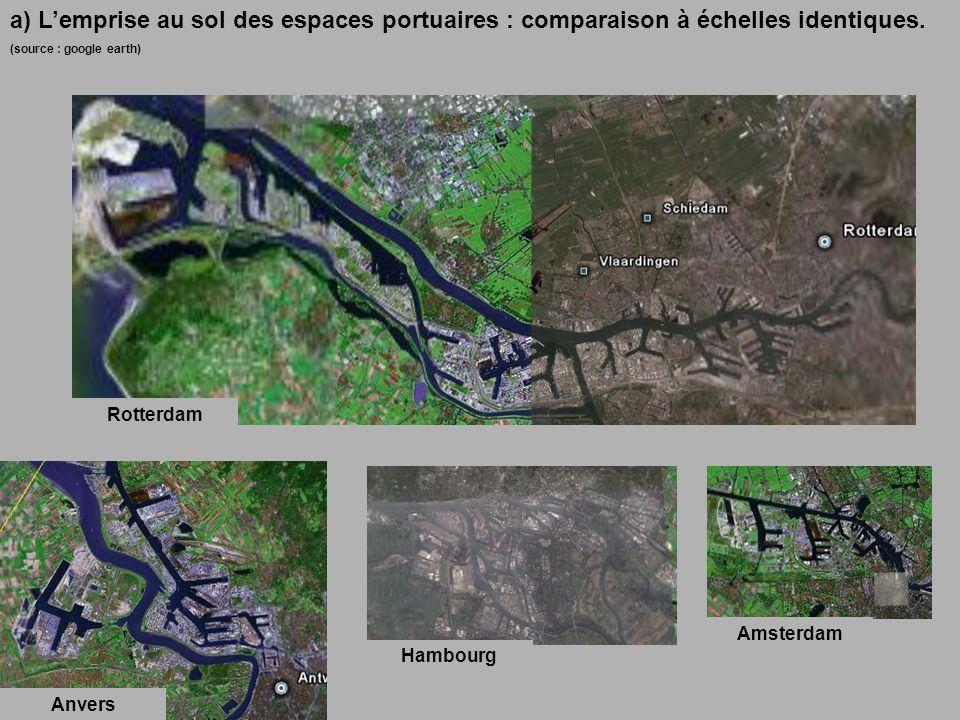 a) Lemprise au sol des espaces portuaires : comparaison à échelles identiques.