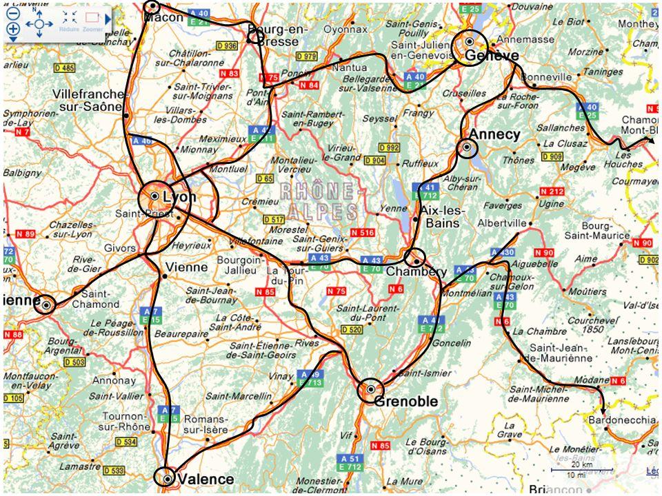 Tunnel du Mont Blanc Tunnel du Fréjus Lyon Genève Grenoble Chambéry Annecy Valence Saint- Etienne MaconBoug en Br Vers Marseille Vers Paris Vers Clermont Fd Années 1960 Années 1970 Années 1980 Années 1990 et début des années 2000