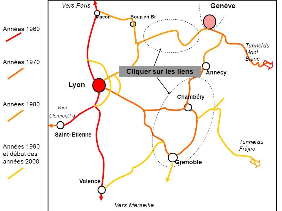 Tunnel du Mont Blanc Tunnel du Fréjus Lyon Genève Grenoble Chambéry Annecy Valence Saint- Etienne MaconBoug en Br Vers Marseille Vers Paris Vers Clerm