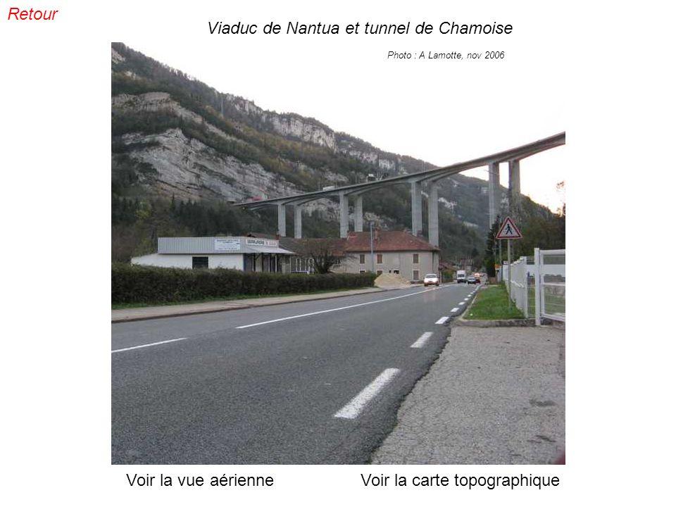 Viaduc de Nantua et tunnel de Chamoise Photo : A Lamotte, nov 2006 Voir la vue aérienneVoir la carte topographique Retour