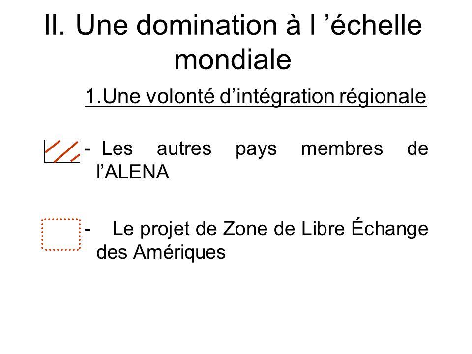 II. Une domination à l échelle mondiale 1.Une volonté dintégration régionale - Les autres pays membres de lALENA - Le projet de Zone de Libre Échange