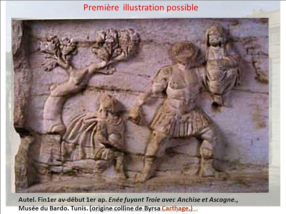 HISTOIRE DES ARTS Autel. Fin1er av-début 1er ap. Enée fuyant Troie avec Anchise et Ascagne., Musée du Bardo. Tunis. (origine colline de Byrsa Carthage