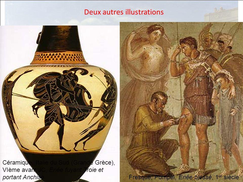 HISTOIRE DES ARTS Deux autres illustrations Céramique, Italie du Sud (Grande Grèce), VIème avant JC, Enée fuyant Troie et portant Anchise. Fresque, Po