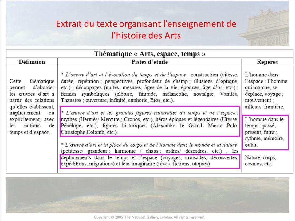 HISTOIRE DES ARTS Extrait du texte organisant lenseignement de lhistoire des Arts