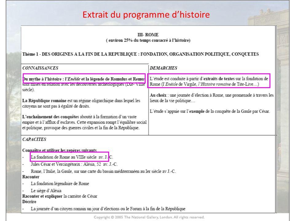 HISTOIRE DES ARTS Extrait du programme dhistoire