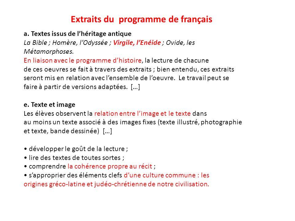 Extraits du programme de français a. Textes issus de lhéritage antique La Bible ; Homère, lOdyssée ; Virgile, lEnéide ; Ovide, les Métamorphoses. En l
