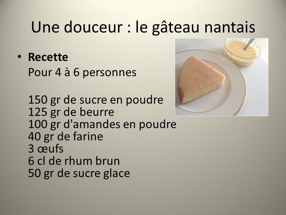 Recette Pour 4 à 6 personnes 150 gr de sucre en poudre 125 gr de beurre 100 gr d'amandes en poudre 40 gr de farine 3 œufs 6 cl de rhum brun 50 gr de s