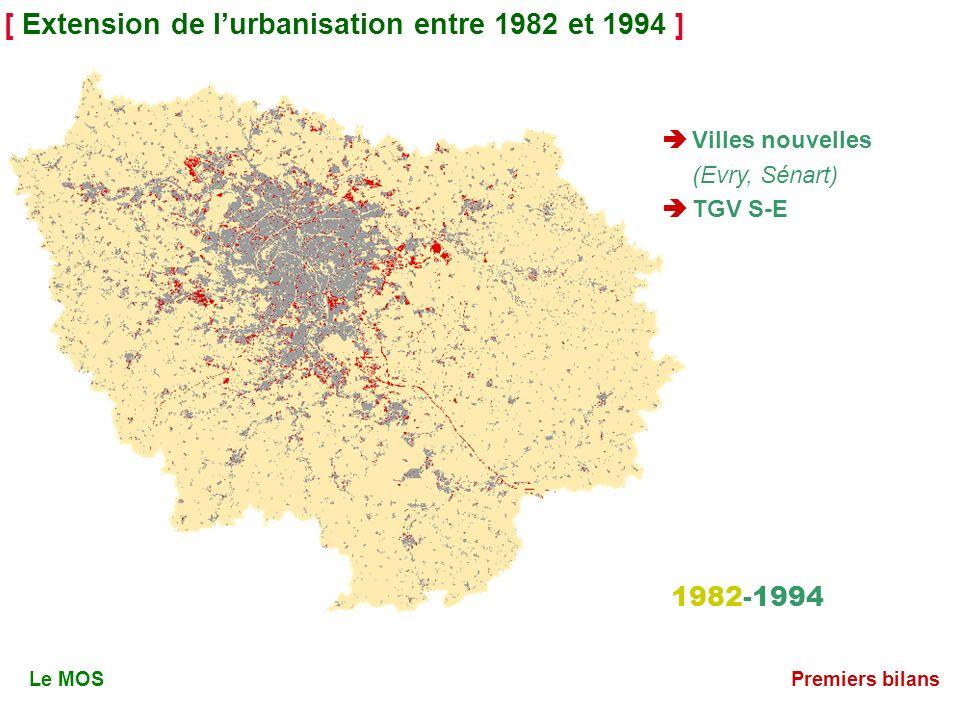 [ Extension de lurbanisation entre 1982 et 1994 ] 1982-1994 Le MOSPremiers bilans Villes nouvelles (Evry, Sénart) TGV S-E