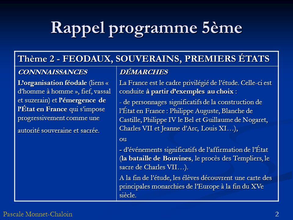 2Pascale Monnet-Chaloin Rappel programme 5ème Thème 2 - FEODAUX, SOUVERAINS, PREMIERS ÉTATS CONNNAISSANCES Lorganisation féodale (liens « dhomme à hom