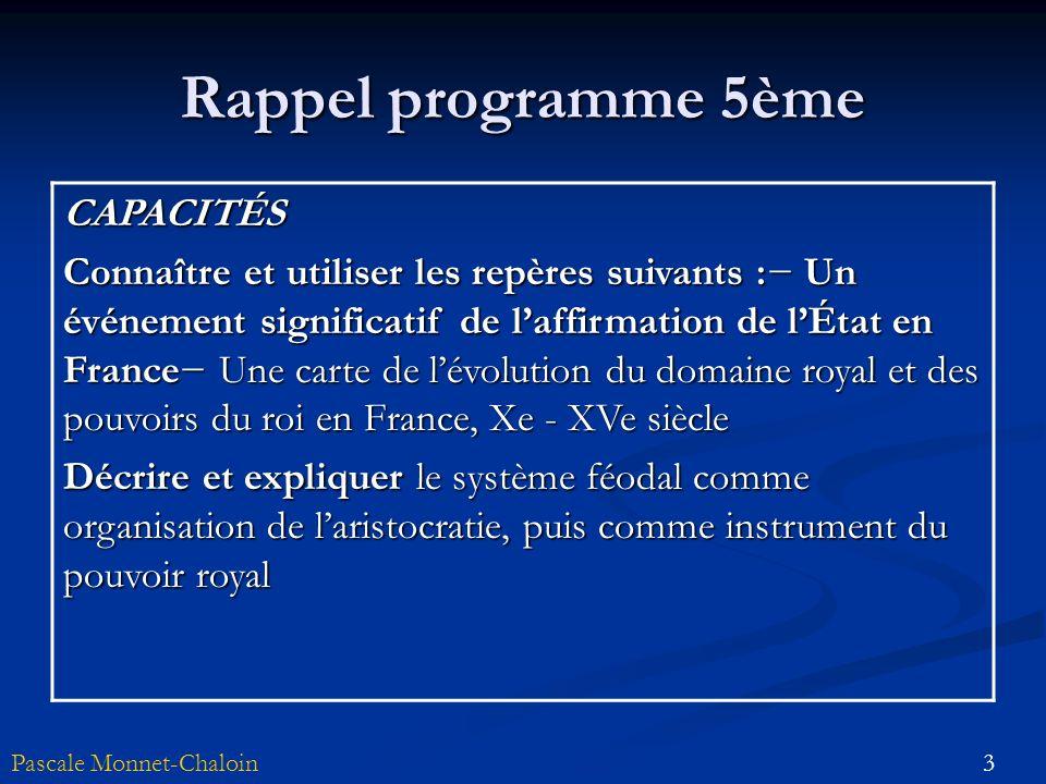 3Pascale Monnet-Chaloin Rappel programme 5ème CAPACITÉS Connaître et utiliser les repères suivants : Un événement significatif de laffirmation de lÉta