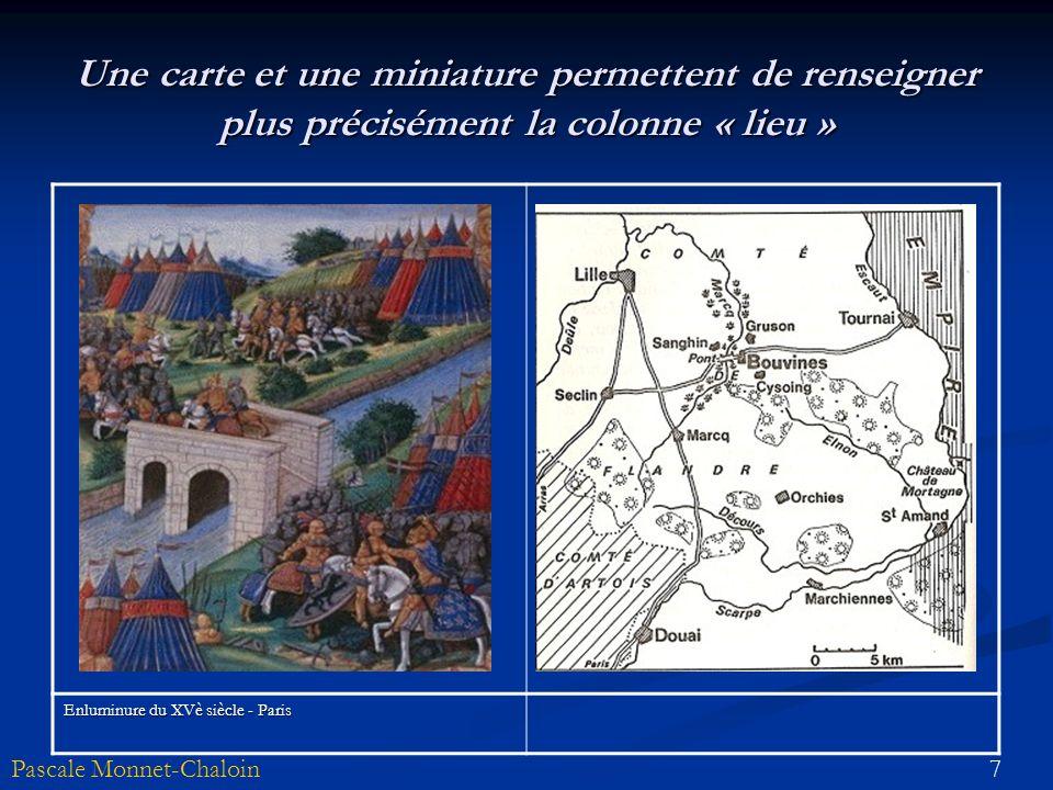7Pascale Monnet-Chaloin Une carte et une miniature permettent de renseigner plus précisément la colonne « lieu » Enluminure du XVè siècle - Paris