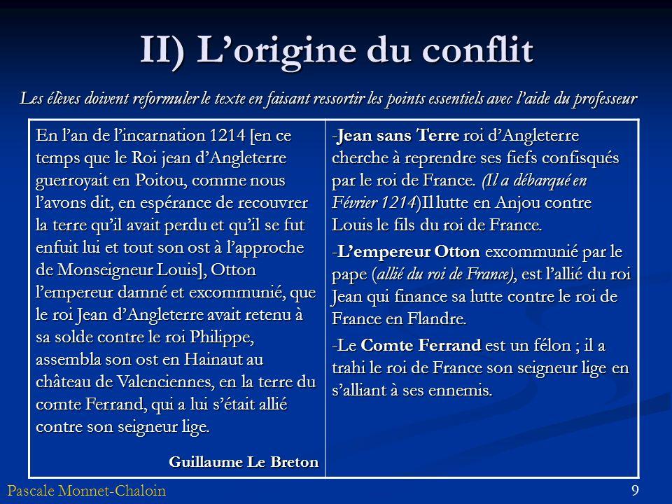9Pascale Monnet-Chaloin II) Lorigine du conflit En lan de lincarnation 1214 [en ce temps que le Roi jean dAngleterre guerroyait en Poitou, comme nous