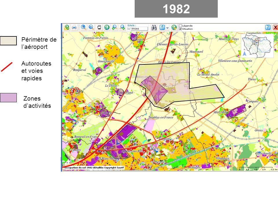 1982 Périmètre de laéroport Autoroutes et voies rapides Zones dactivités