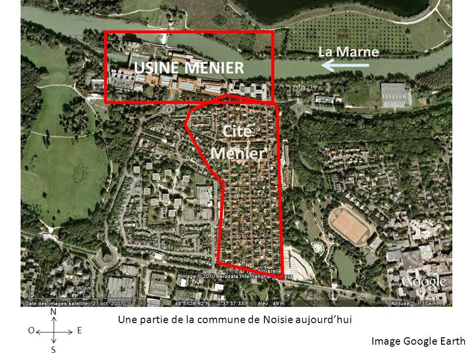 USINE MENIER La Marne S N EO Cité Menier Image Google Earth Une partie de la commune de Noisie aujourdhui