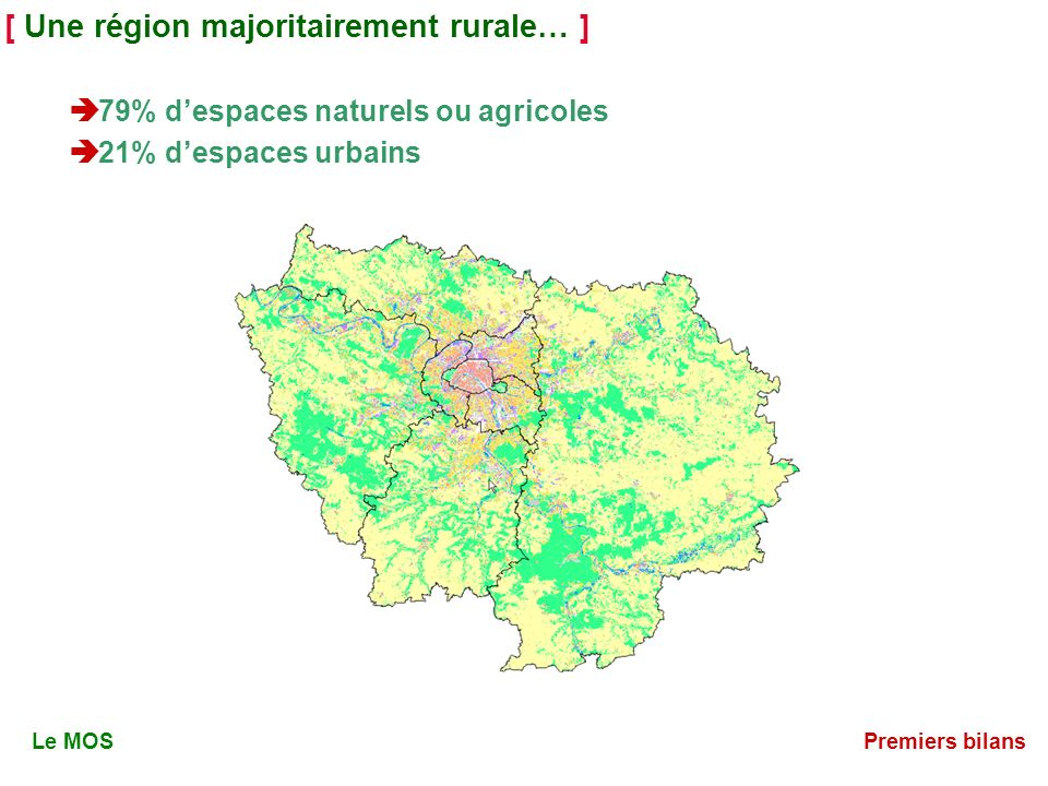 [ Une région majoritairement rurale… ] 79% despaces naturels ou agricoles 21% despaces urbains Le MOSPremiers bilans