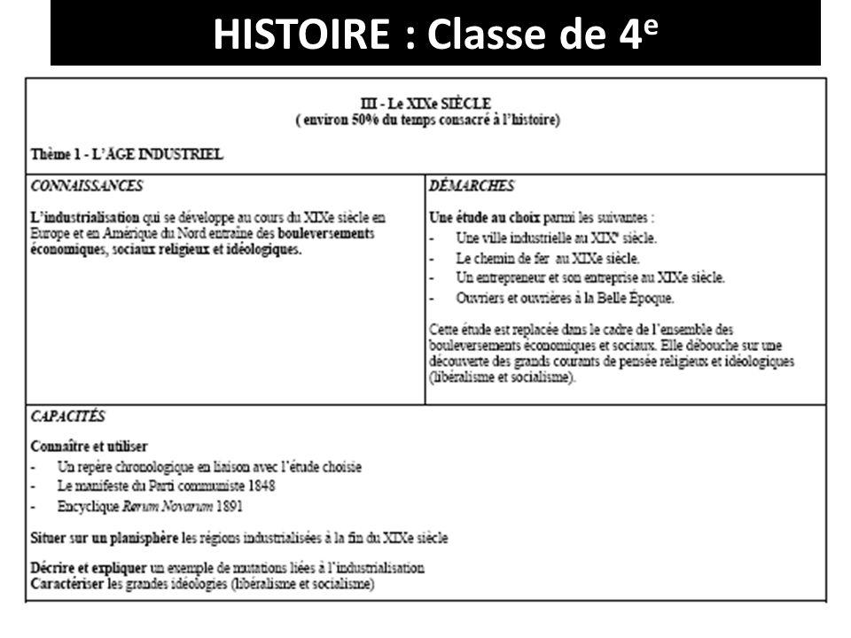 HISTOIRE : Classe de 4 e