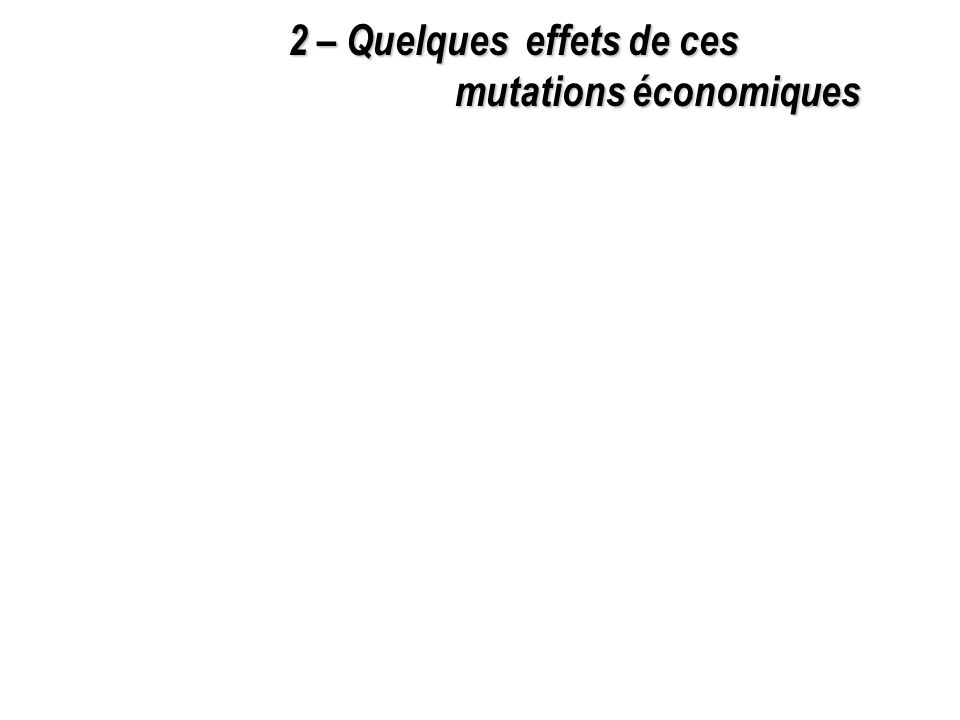 2 – Quelques effets de ces mutations économiques