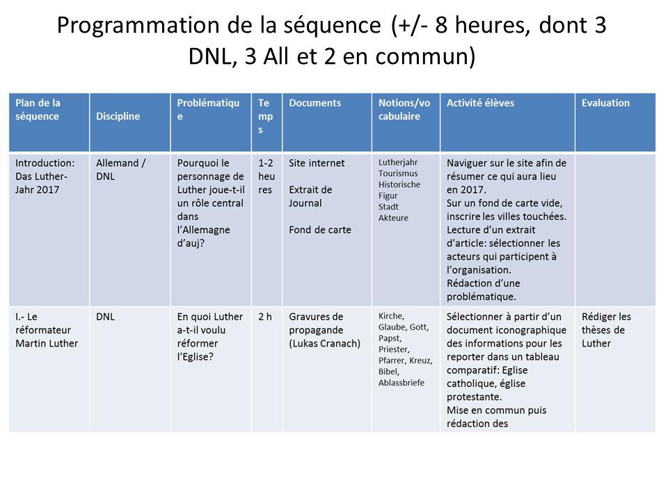 Programmation de la séquence (+/- 8 heures, dont 3 DNL, 3 All et 2 en commun)