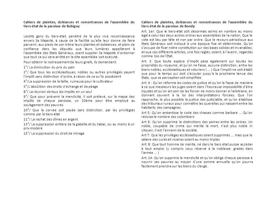 Cahiers de plaintes, doléances et remontrances de l'assemblée du tiers-état de la paroisse de Bobigny: Lesdits gens du tiers-état, pénétré de la plus